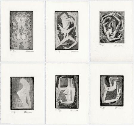Engraving Prinner - LA FEMME TONDUE. Suite complète à grandes marges (1946)