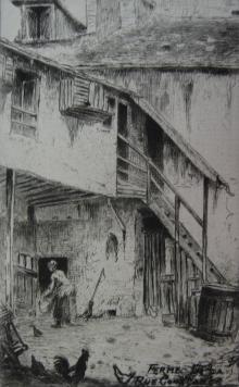 Etching Delatre - La ferme de la rue Constance