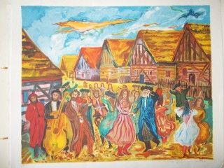 Lithograph Adler - La fete au village