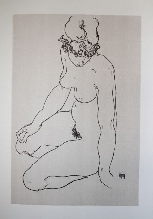 Lithograph Schiele - LA  FILLE A GENOUX / THE GIRL ON THE KNEES (Edith Harms) - Lithographie / Lithograph - 1913