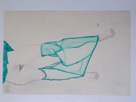 Lithograph Schiele - La fille au bas vert