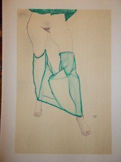 Lithograph Schiele - La fille au bas verts