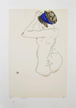 Lithograph Schiele - La fille au turban bleu, 1912 / The girl with blue headband, 1912