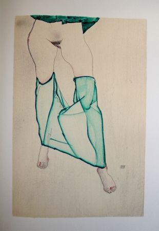 Lithograph Schiele - LA FILLE AUX BAS VERTS / THE GIRL IN THE LOW GREEN - Lithographie / Lithograph - 1913