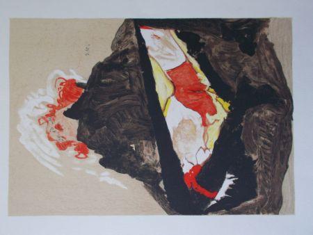 Lithograph Schiele - La fille aux cheveux rouge
