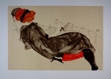 Lithograph Schiele - La fille aux Cheveux Rouges / Red-haired Girl - 1912