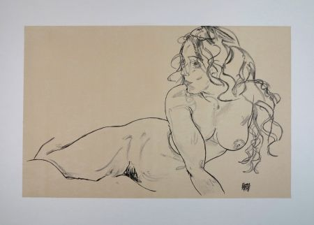 Lithograph Schiele - LA FILLE AUX LONG CHEVEUX / THE GIRL WITH LONG HAIR - 1918