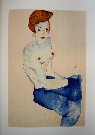 Lithograph Schiele - LA FILLE EN ROBE BLEUE / THE GIRL IN THE BLUE DRESS - Lithographie / Lithograph - 1911