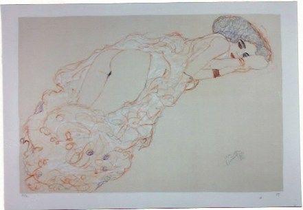 Lithograph Klimt - La fille en robe longue