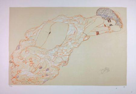 Lithograph Klimt - La fille en robe longue / Reclining Nude Lying on Her Stomach and Facing Right / Auf dem Bauch liegender Halbakt nach rechts - 1910