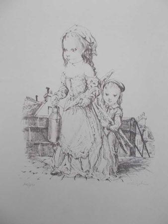 Lithograph Foujita - La fille et l'enfant à la baguette de pain et au pot de lait