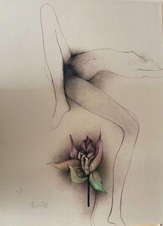 Lithograph Bruni - La fleur du bien -Frauenakt mit Blüte