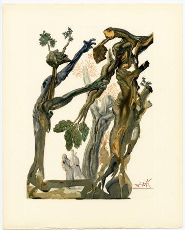 Woodcut Dali - La Forêt des Suicidés. La Divine Comédie (L' Enfer, Chant 13)