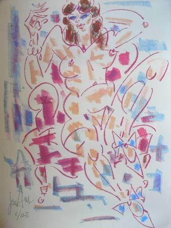 Lithograph Paul  - LA FUMEUSE / THE SMOKER - Lithographie Originale / Original Lithography