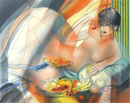 Lithograph Valadie - La Gourmandise