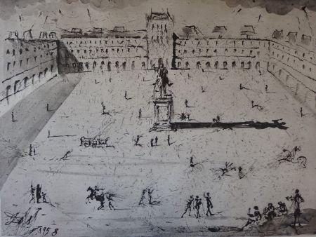 Etching Dali - La Grande Place des Vosges, du temps de Louis XIII