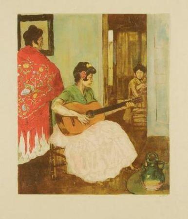 Lithograph Lunois - La guitariste / La guitarera