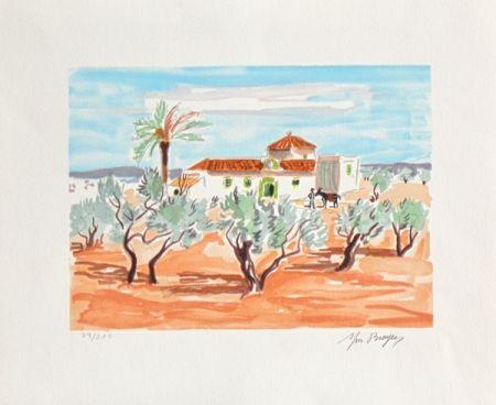 Lithograph Brayer - La hacienda