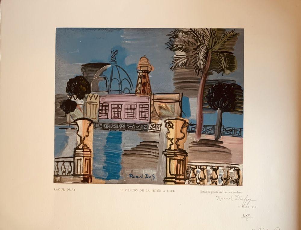 Woodcut Dufy - La jeté du casino de Nice