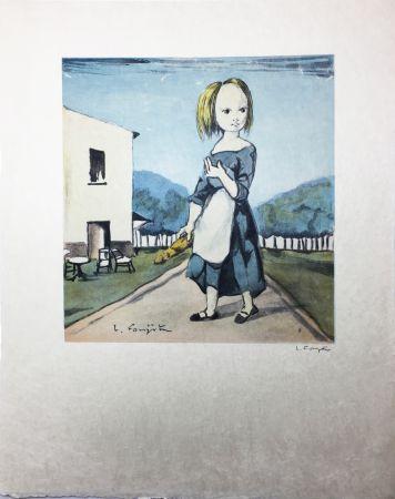 Lithograph Foujita - La jeune fille au pain (1963)