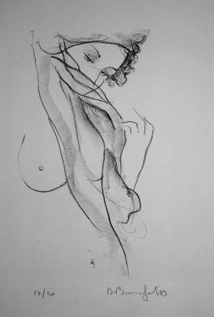 Lithograph Bonnefoit - La jeune Fille au voile / The Girl with a Veil