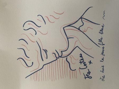 Lithograph Cocteau - La jeune fille bleue