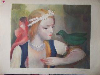 Lithograph Laurencin - La jeune fille et l'oiseau