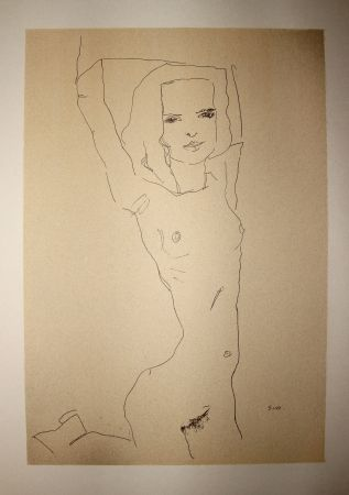 Lithograph Schiele - LA JEUNE FILLE NUE / THE NUDE YOUNG GIRL - Lithographie / Lithograph - 1910