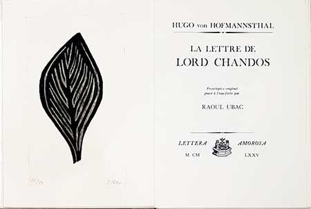 Illustrated Book Ubac - La lettre de Lord Chandos