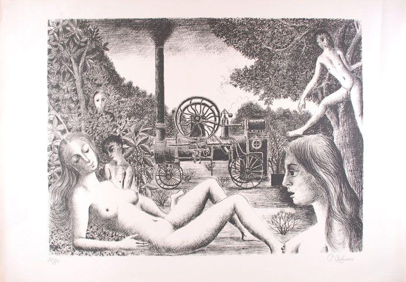 Lithograph Delvaux - La Locomobile