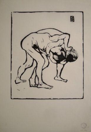 Woodcut Giacometti - La Lotta I. – Ringende Knaben. – Diego und Alberto