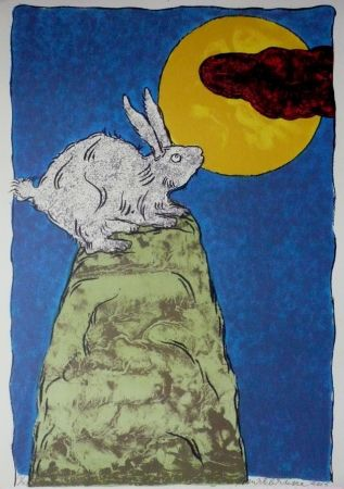 Lithograph Brusse - La Luna