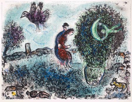 Lithograph Chagall - La lune dans le bouquet