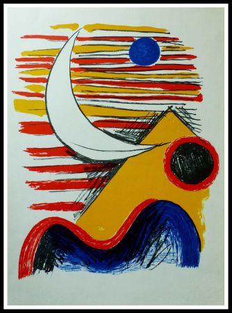 Lithograph Calder - LA LUNE ET LA MONTAGNE