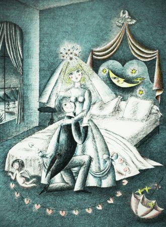 Lithograph Peynet - La lune et un couple
