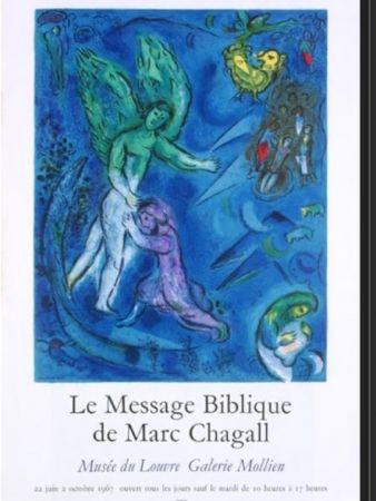 Lithograph Chagall - LA LUTTE DE JACOB ET DE L ANGE
