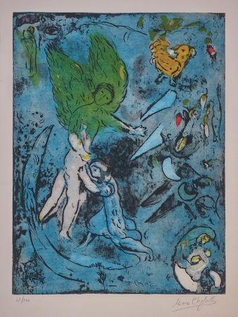 Lithograph Chagall - La Lutte De Jacob Et De L'ange
