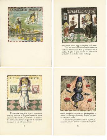 Illustrated Book Foujita - LA MÉSANGÈRE (Jean Cocteau) 21 lithographies. 1963. Ex. de luxe avec soie signée et suite couleurs