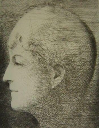 Etching Marcoussis - La mère de l'artiste en 1900
