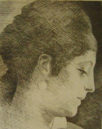 Etching Marcoussis - La mère de l'artiste, jeune, de profil