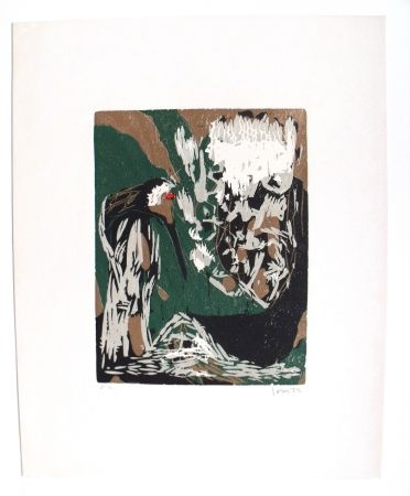 Woodcut Jorn - La Mère Ibis