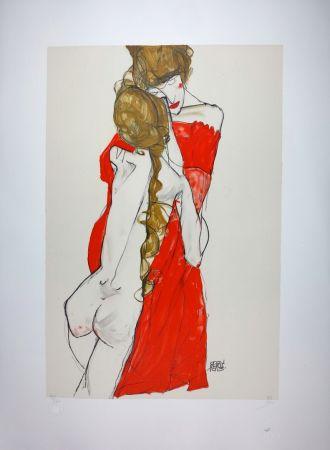 Lithograph Schiele - La Mère & la fille / Mother and Daughter - 1913