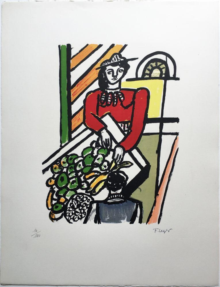 Lithograph Leger - LA MARCHANDE DE QUATRE SAISONS (1959).