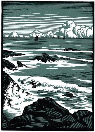 Woodcut Moreau - La Mer / The Sea - Bretagne / Brittany - France - 1910