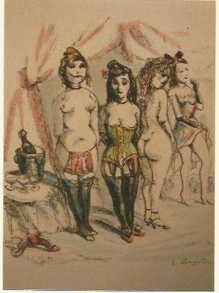 Etching Foujita - La Mesangere (Four prostitutes)