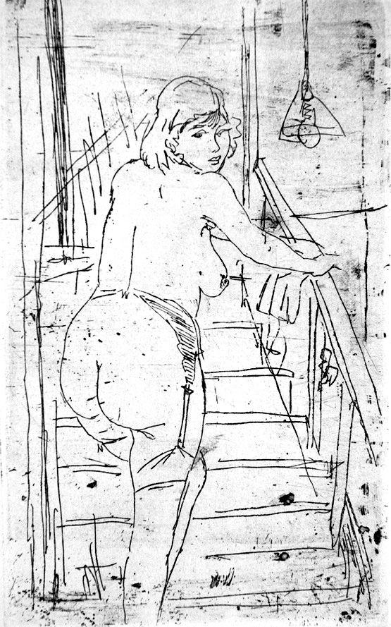 Engraving Manfredi - La modella bionda sulla scale