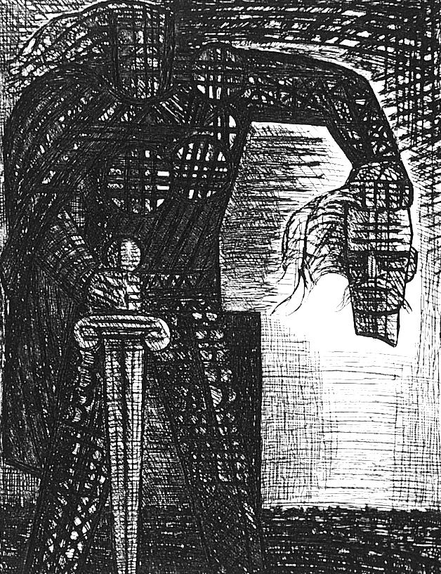 Engraving Gromaire - La mort de Macbeth