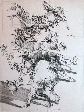 Etching Weisbuch - LA MORT ET LE CAVALIER
