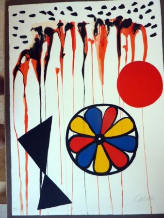 Lithograph Calder - La Mousson