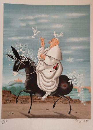 Lithograph Peynet - La Mule du Pape